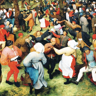 A painting by Pieter Bruegel depicting a crowd of people dancing in a field.
