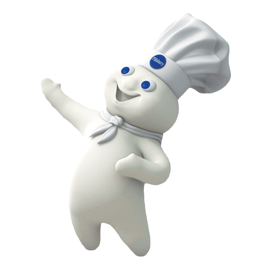 The cartoon mascot for the brand Pillsbury. The mascot is a white humanoid cartoon with blue eyes and a chef's hat.