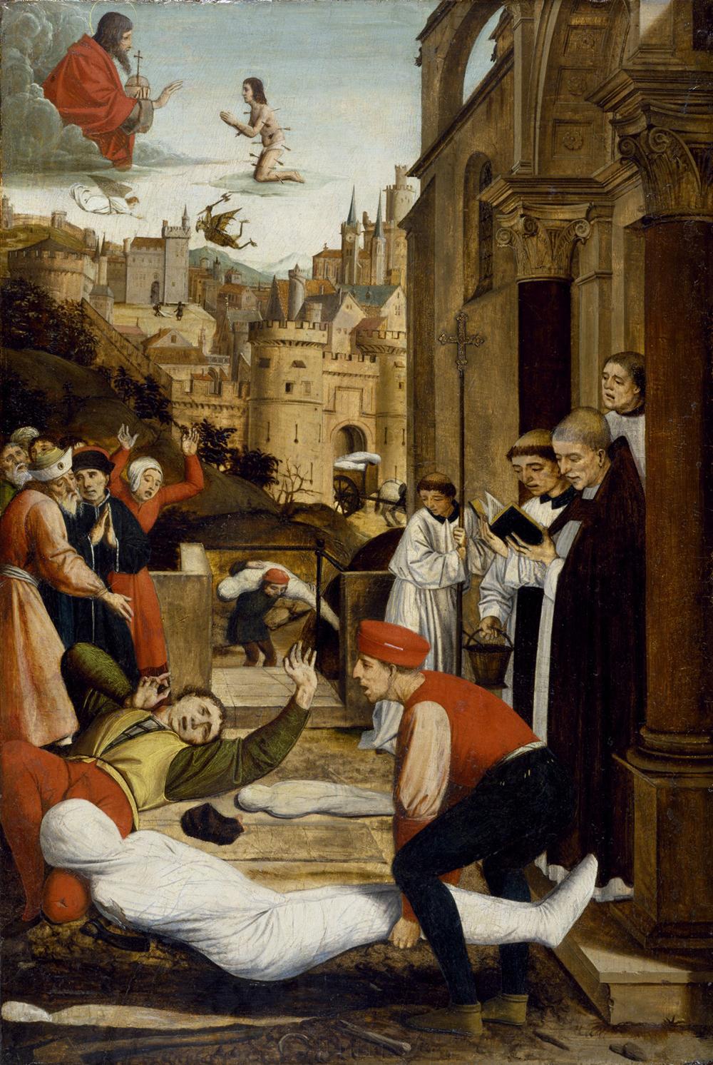 Saint Sebastian Interceding for the Plague Stricken, by Josse Lieferinxe, c. 1497.