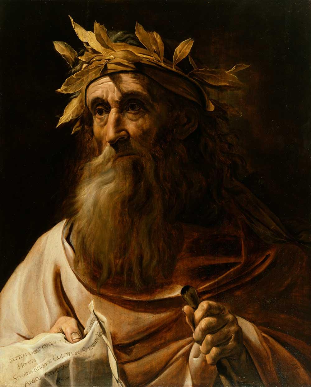 Portrait of the poet Homer, Flemish, 1639.