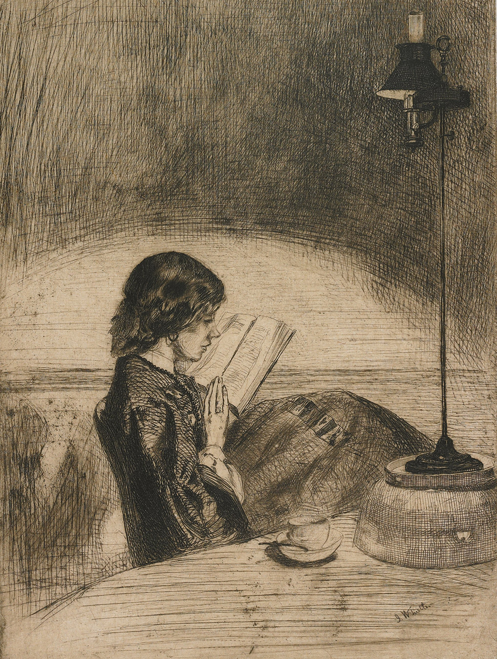 Reading by Lamplight, by James McNeill Whistler, 1858. Minneapolis Institute of Art, The William M. Ladd Collection Gift of Herschel V. Jones, 1916.