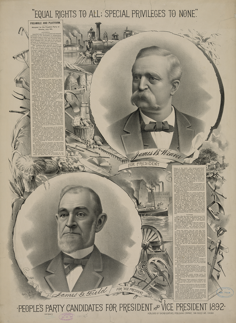 Poster for the People's Party candidates for president and vice president in 1892.