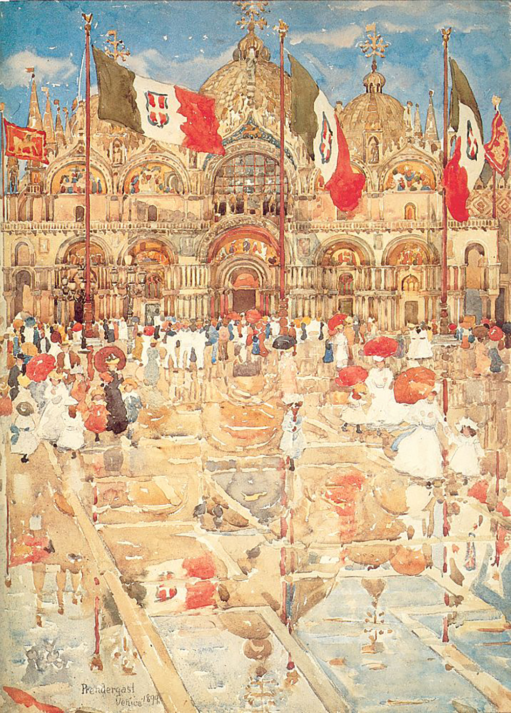 A modernist painting of the Plaza San Marco in Venice. A crowd of people in front of the church hold red umbrellas.