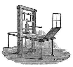 A diagram of an early printing press