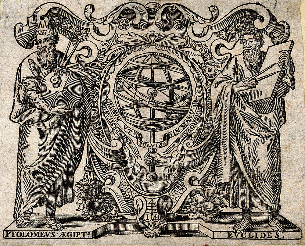 Ptolemy and Euclid with an armillary sphere between them. Wellcome Collection (CC BY 4.0).