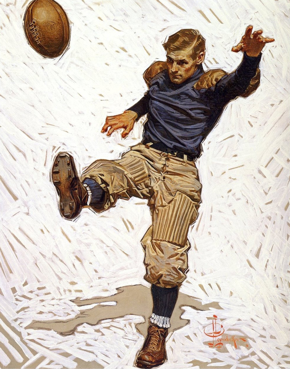 The Punter, by J.C. Leyendecker, from The Saturday Evening Post, 1908.