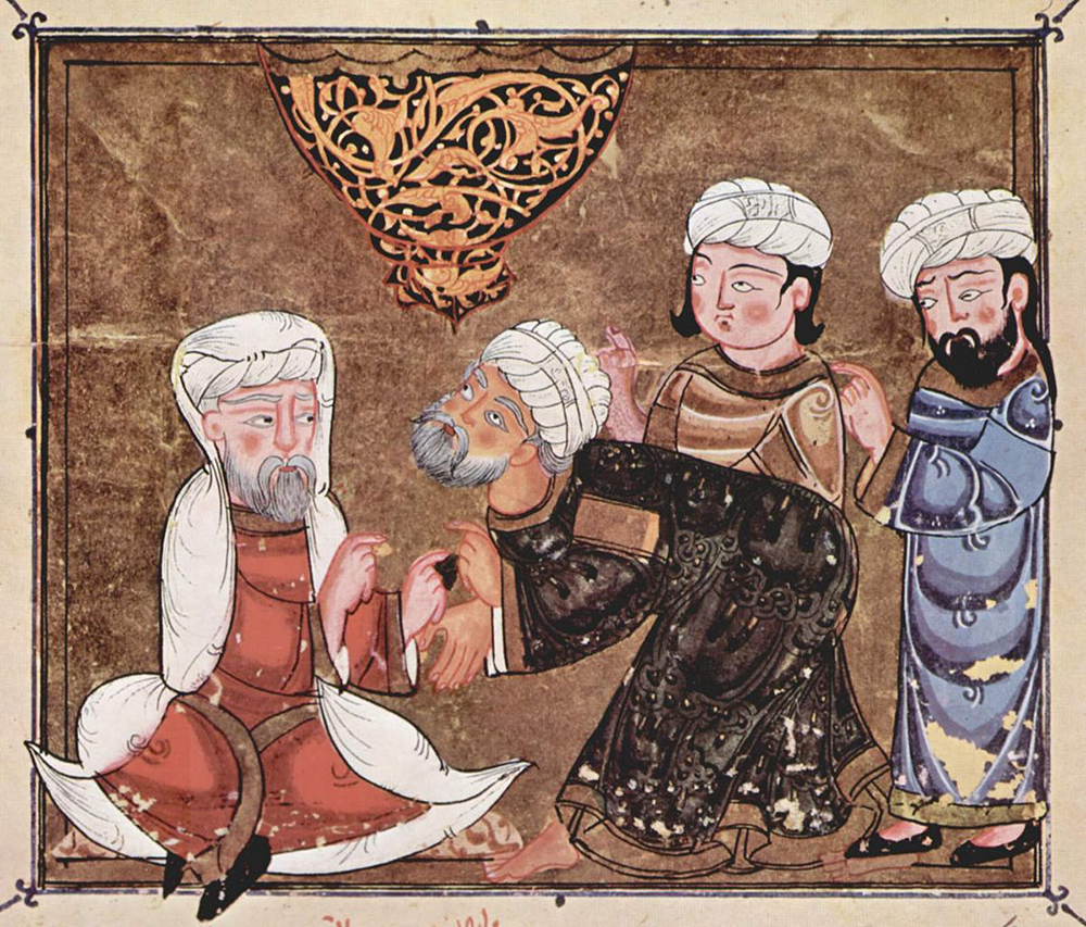 Abû Zayd pleads before the qadi of Maʿarra, c. 1334. Austrian National Library.