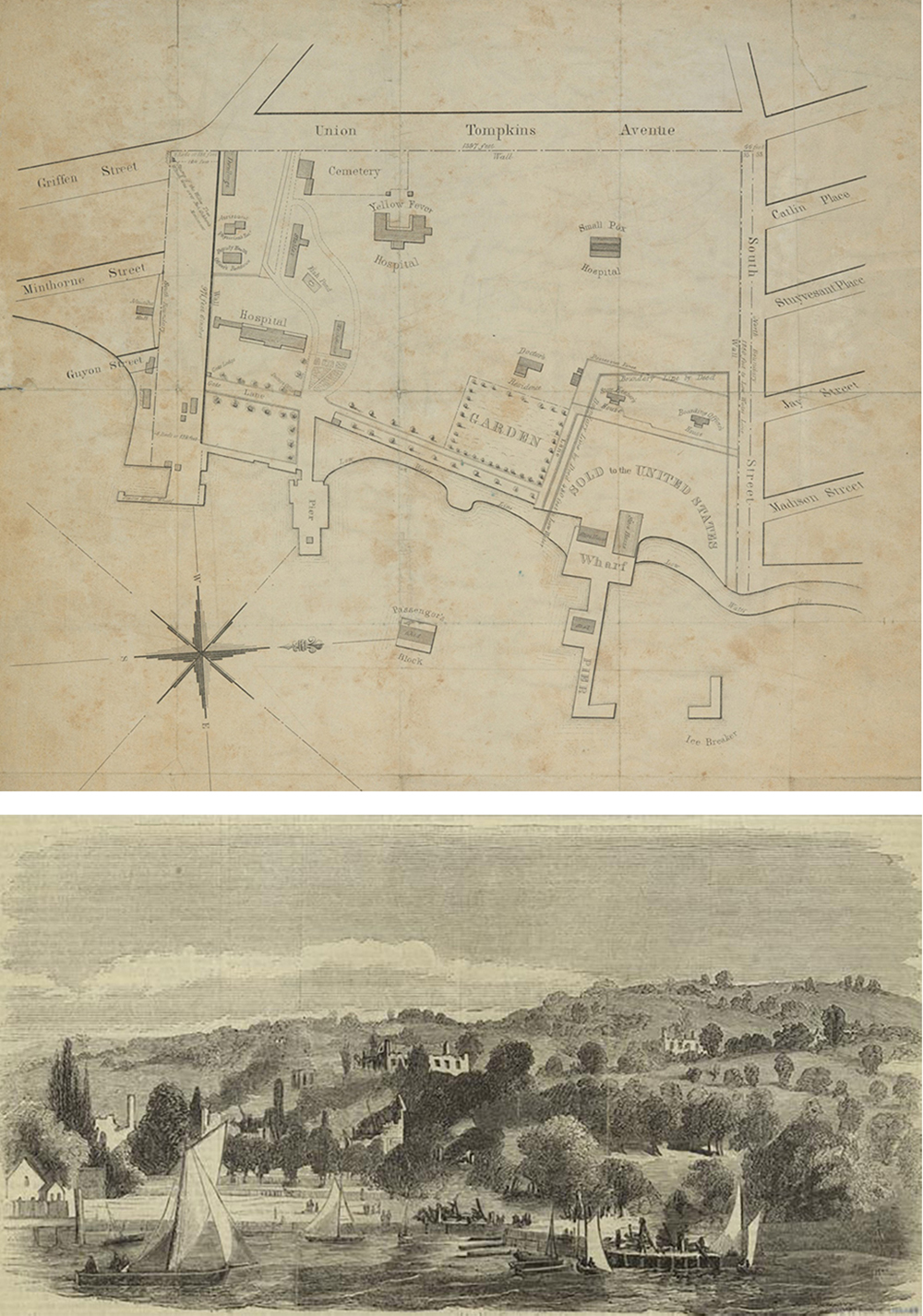 Top: Map of the Marine Hospital, 1845. Bottom: The ruins of the quarantine establishment on Staten Island, 1858. The New York Public Library.