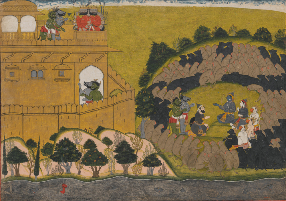 """Rama Releases the Demon Spies Shuka and Sarana,"" folio from a Ramayana ""Siege of Lanka"" Series, c. 1725. Metropolitan Museum of Art."