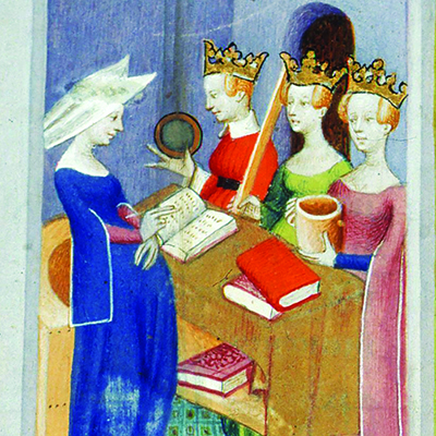 Three crowned women facing a fourth woman