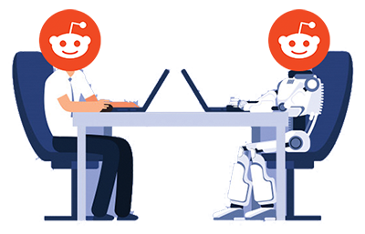 Two seated people typing on laptops with the Reddit logo over their faces