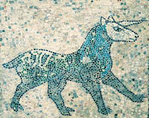 A mosaic of a Re'em