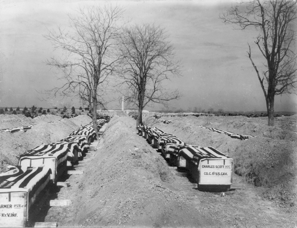 Coffins of Spanish-American war dead, 1898. Library of Congress, Prints and Photographs Division.