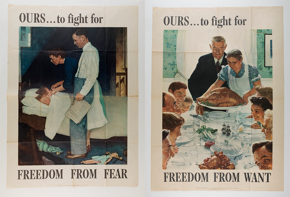 """Freedom from Fear"" and ""Freedom from Want,"" by Norman Rockwell, c. 1940. National Museum of American History."