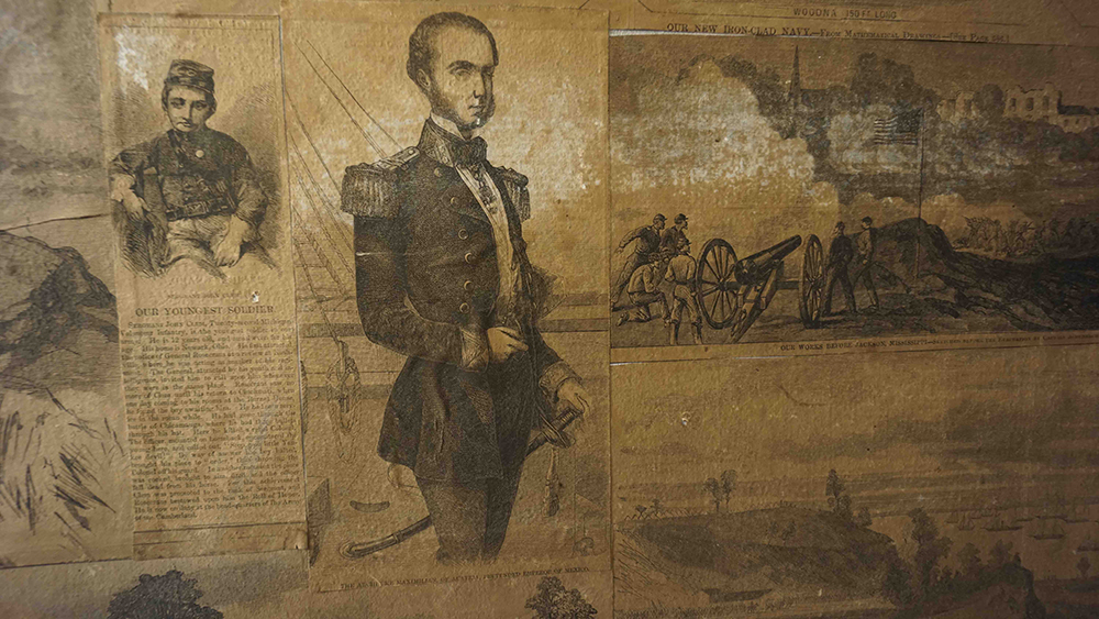 Nathaniel Banks in uniform on the wall of Locke's house. Photograph by David Bouley and André Phillips.