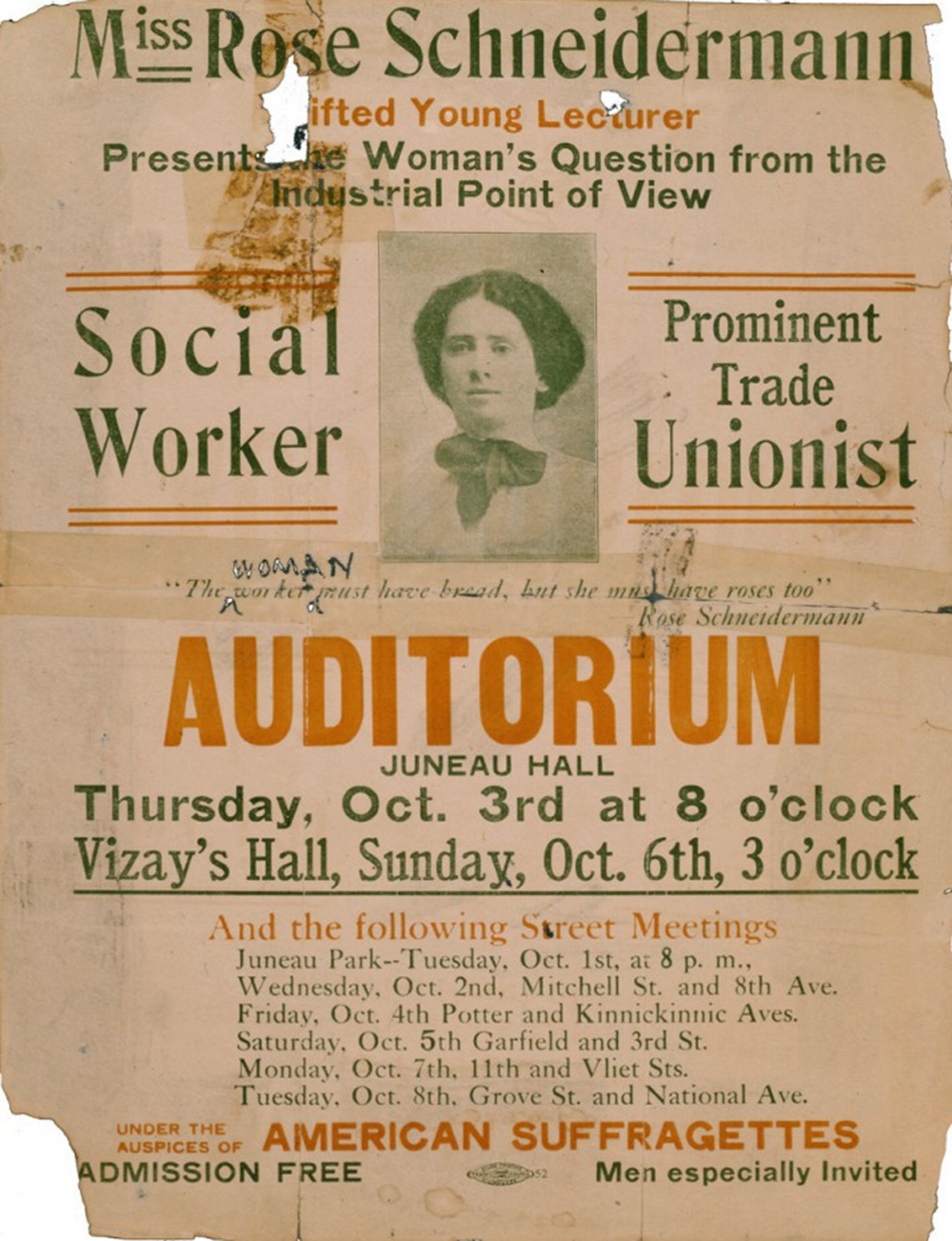 A poster featuring American social activist Rose Schneiderman, 1912. New York University, Tamiment Library and Robert F. Wagner Archives.