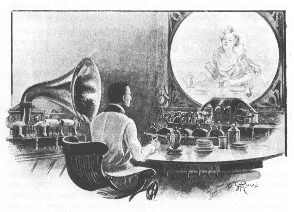 "An illustration from Jules Verne's short story ""La Journée d'un journaliste américain en 2889"" (In the Year 2889) by George Roux, 1910."