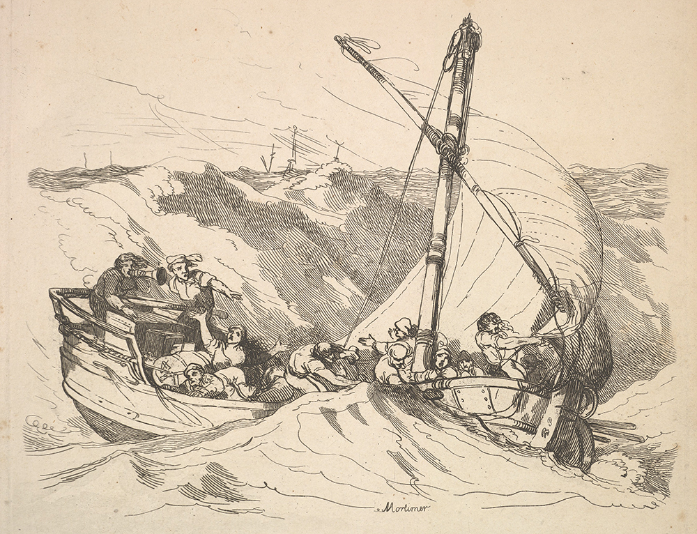 """Boat in a Storm at Sea,"" by Thomas Rowlandson, after John Hamilton Mortimer, 1784–88. The Metropolitan Museum of Art, Harris Brisbane Dick Fund, 1933."
