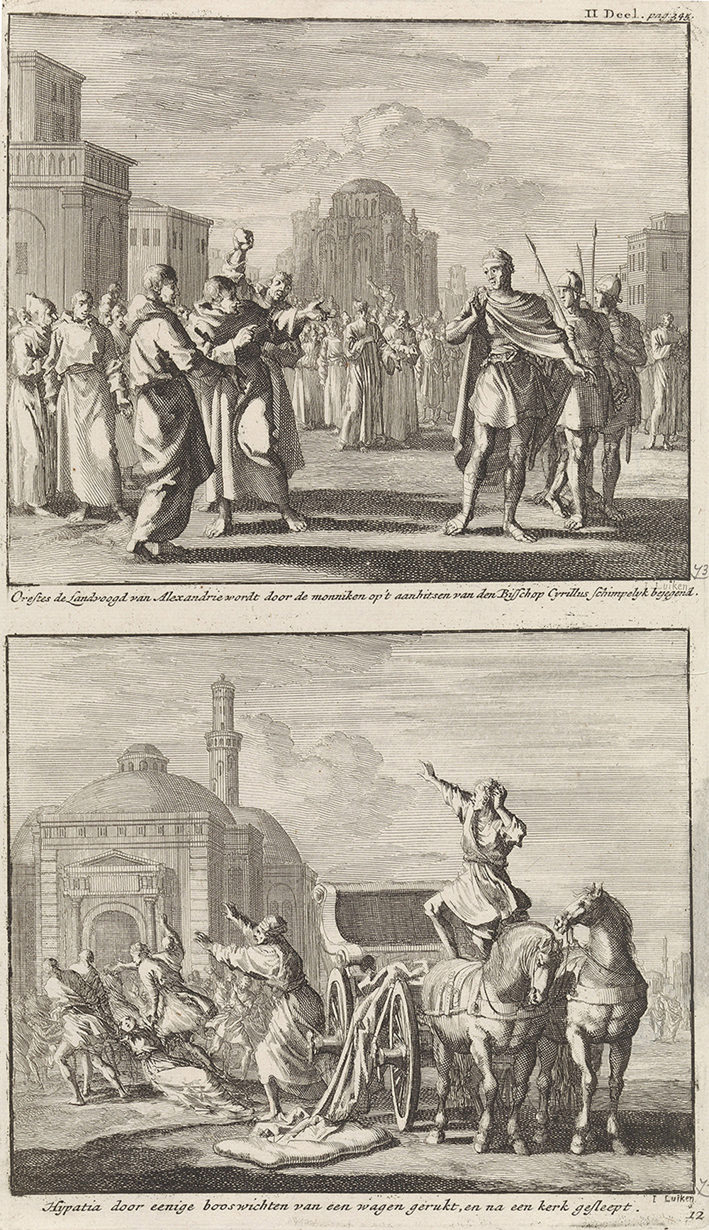 Orestes is mocked by monks and Hypatia is drawn from her carriage by Christians, by Jan Luyken, 1701. Rijksmuseum.