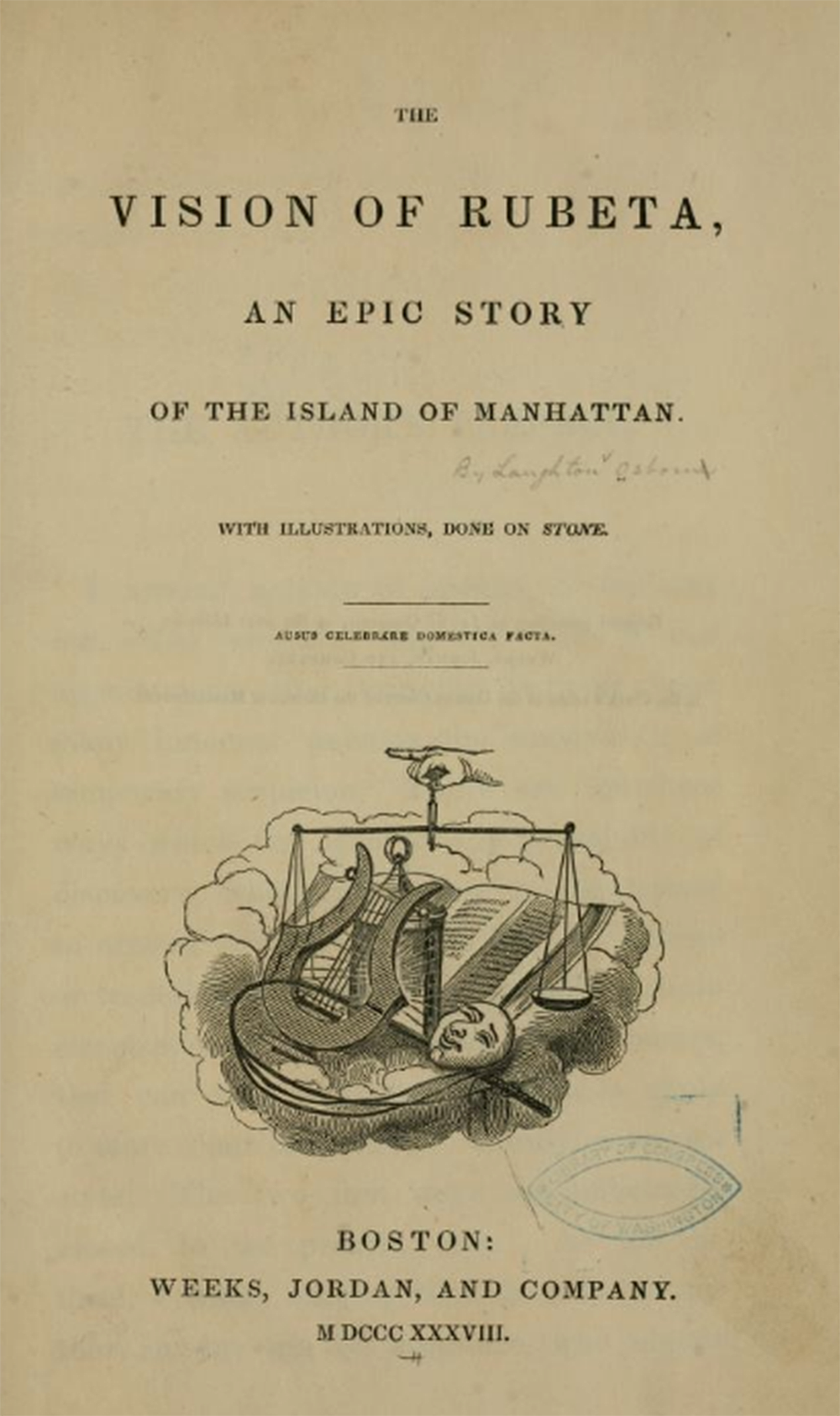 """The Vision of Rubeta: An Epic of the Island of Manhattan,"" by Laughton Osborne, 1838. Library of Congress."