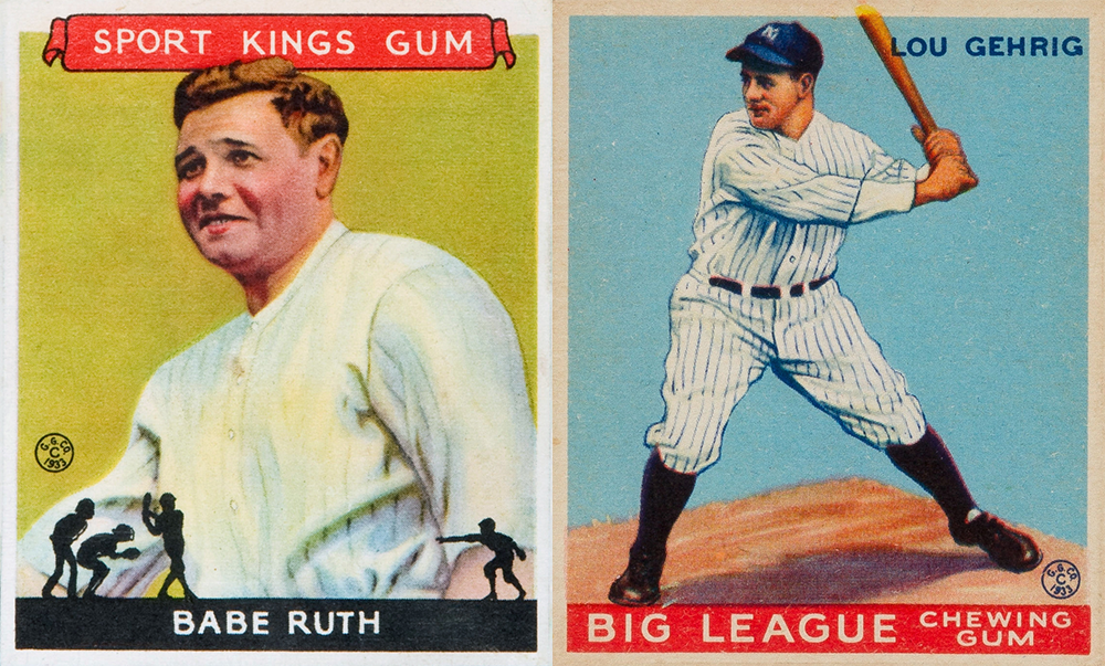 Babe Ruth and Lou Gehrig, 1933 Goudey baseball cards.