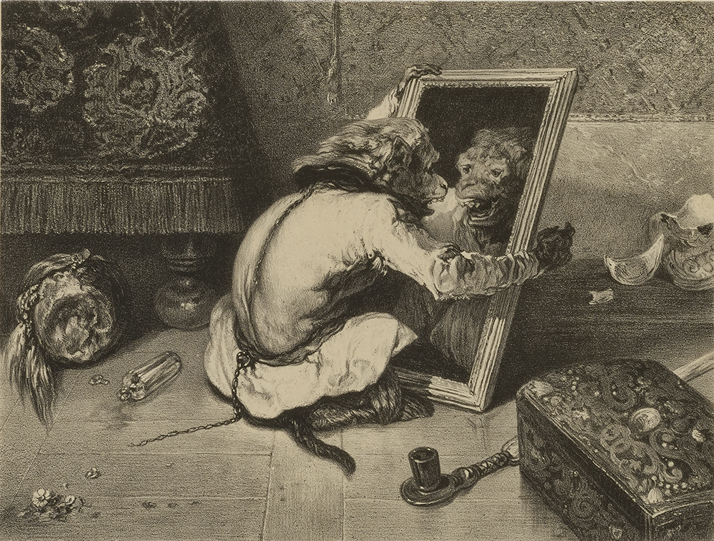 Monkey in the Mirror, by Eugène Leroux, after Alexandre Gabriel Decamps, nineteenth century.
