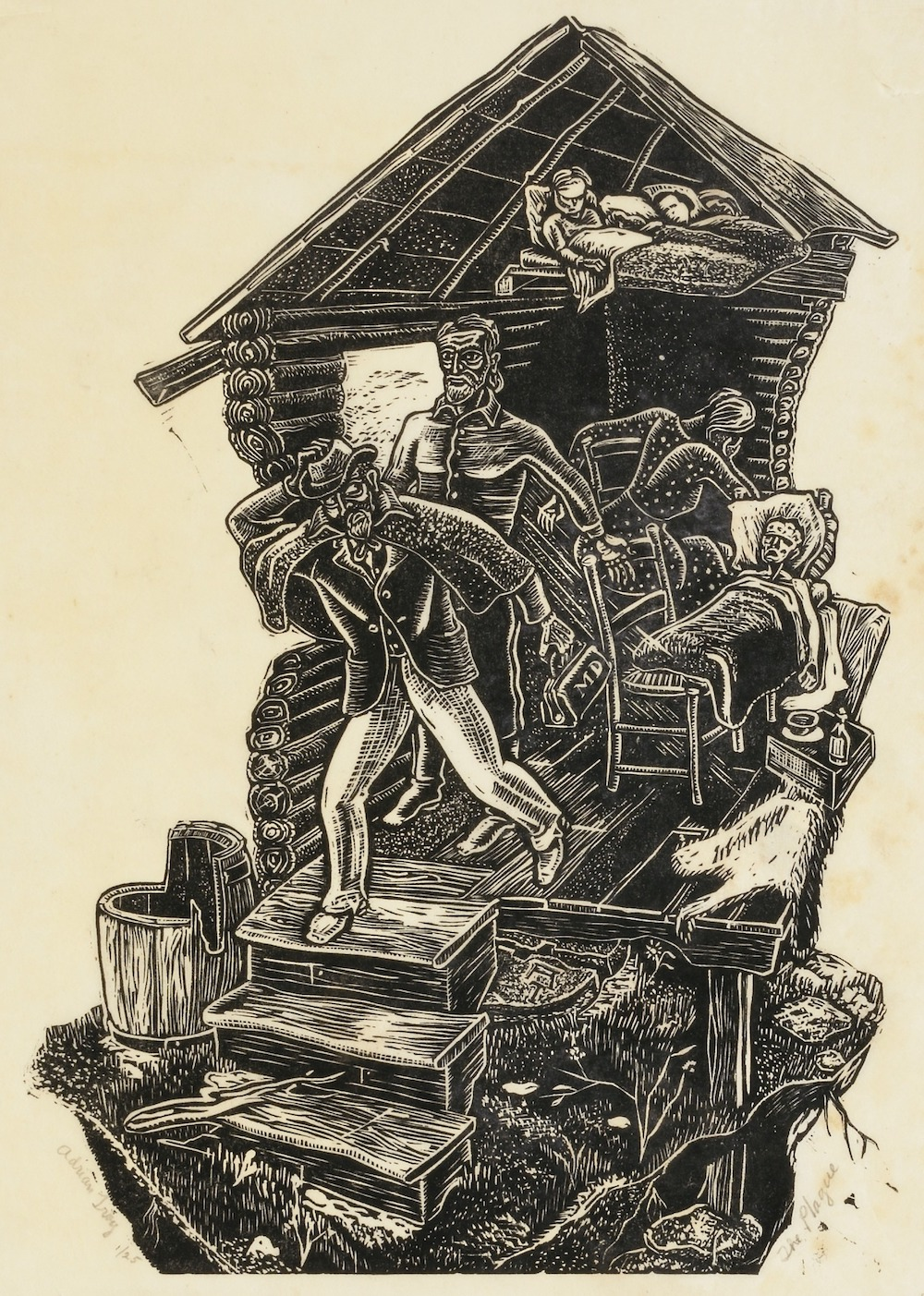 A woodcut showing the inside of a home. Several people are sick, while others care for them. A doctor is on his way out the door.