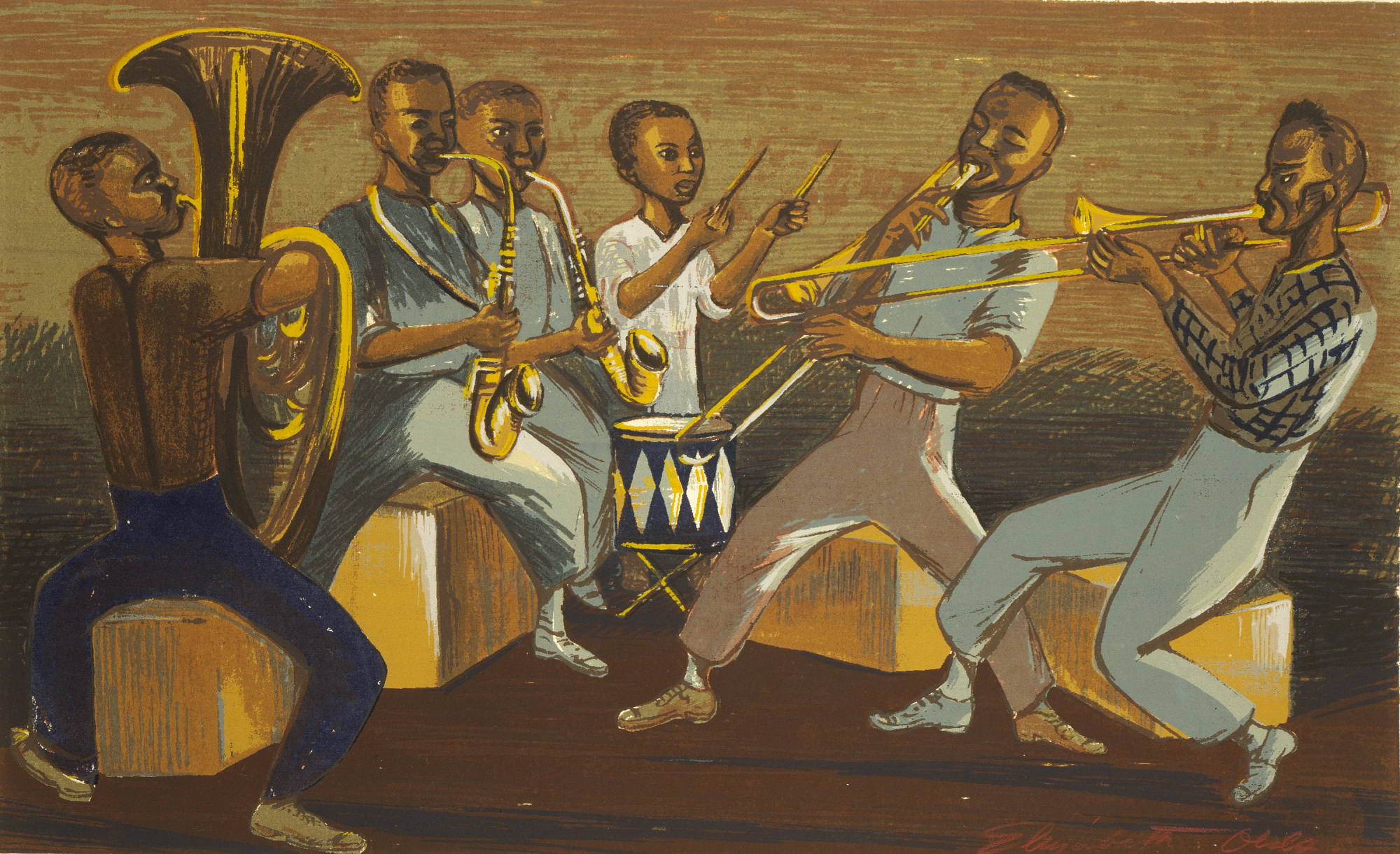 A drawing of a group of musicians, playing horns, saxophones, and a drum.