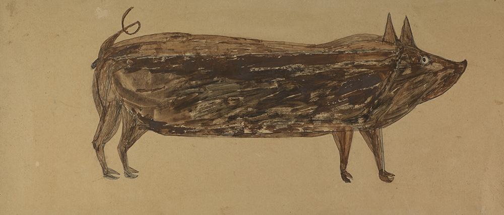 Untitled (Brown Pig), by Bill Traylor, 1940.