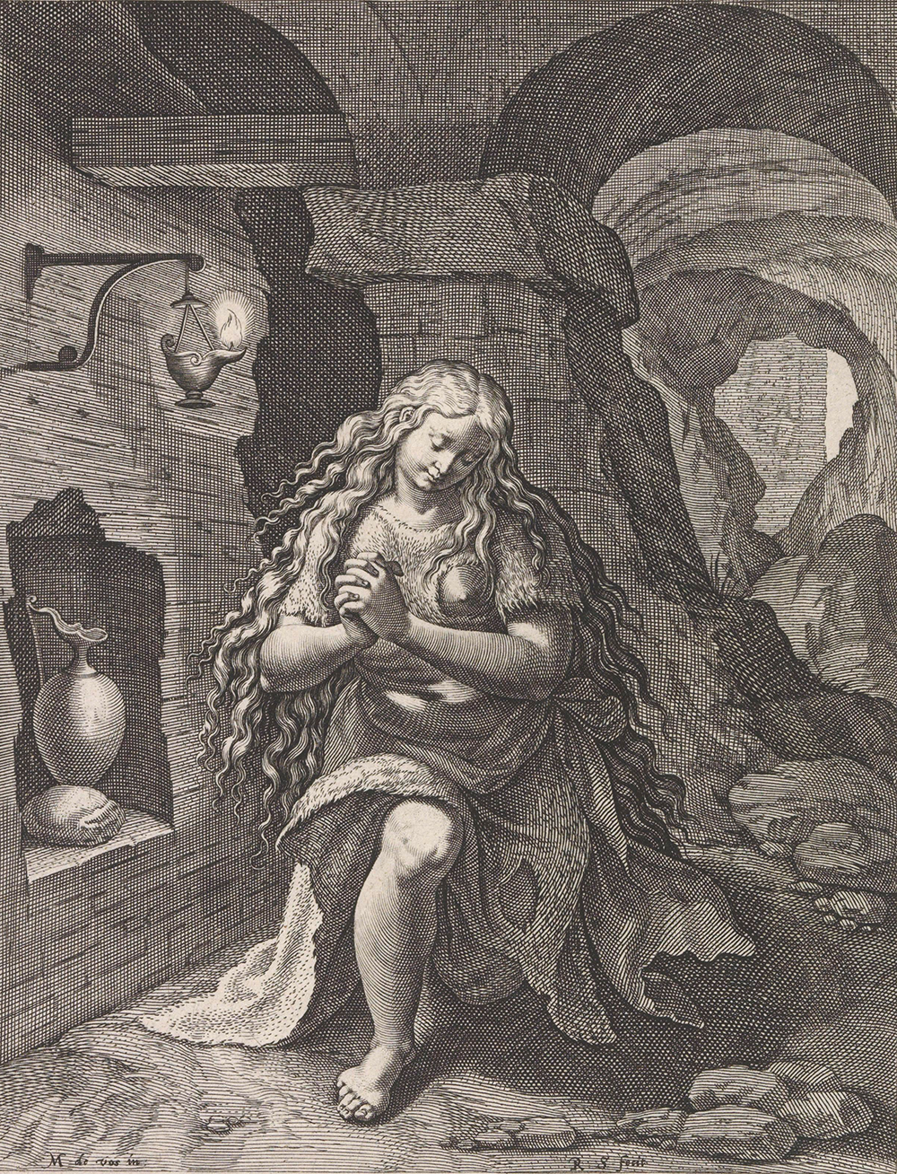 Mary Magdalene as the female personification of fasting, by Raphaël Sadeler, after Maerten de Vos, c. 1589. Rijksmuseum.