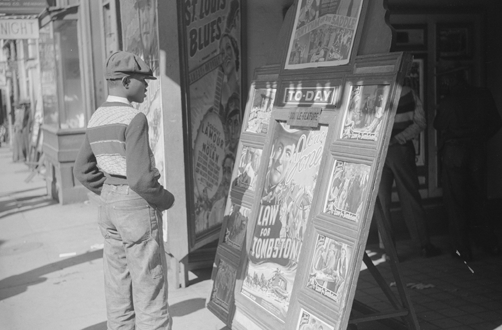 Photograph of entrance to a movie house on Beale Street in Memphis, Tennessee, by Marion Post Wolcott, 1939.