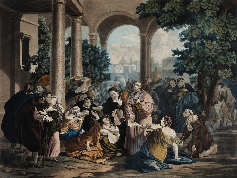 A depiction of Saint Carlo Borromeo giving alms to the plague victims in Milan.