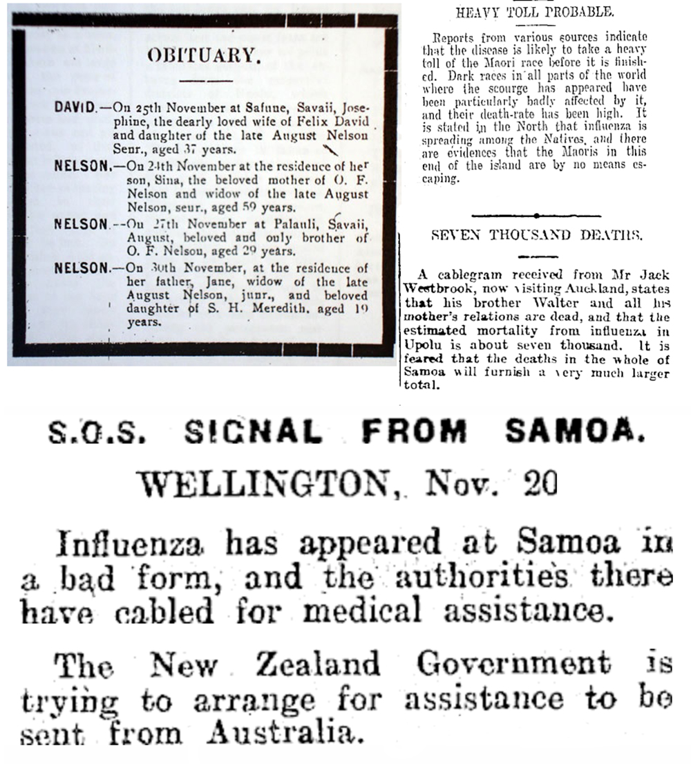 Newspaper clippings from the Samoan Times, Auckland Star, Ashburton Guardian, and Dominion, 1918. New Zealand Ministry for Culture and Heritage and the National Library of New Zealand (CC BY-NC-SA 3.0 NZ).