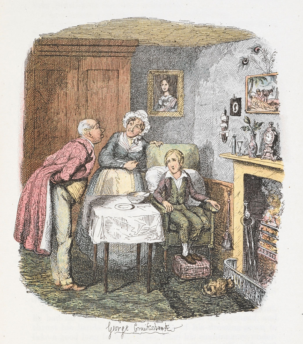 """""""Oliver Recovering from Fever,"""" from Charles Dickens' Oliver Twist, by George Cruikshank, c. 1911. British Library."""