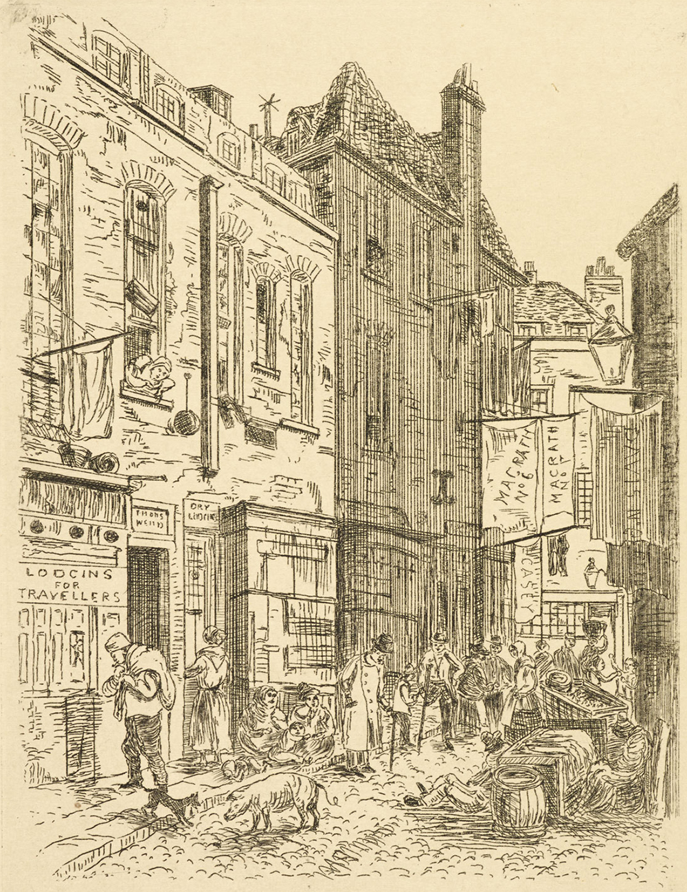 Printed sketch of the Rookery in St. Giles, from John Forster's The Life of Dickens, 1817. British Library.