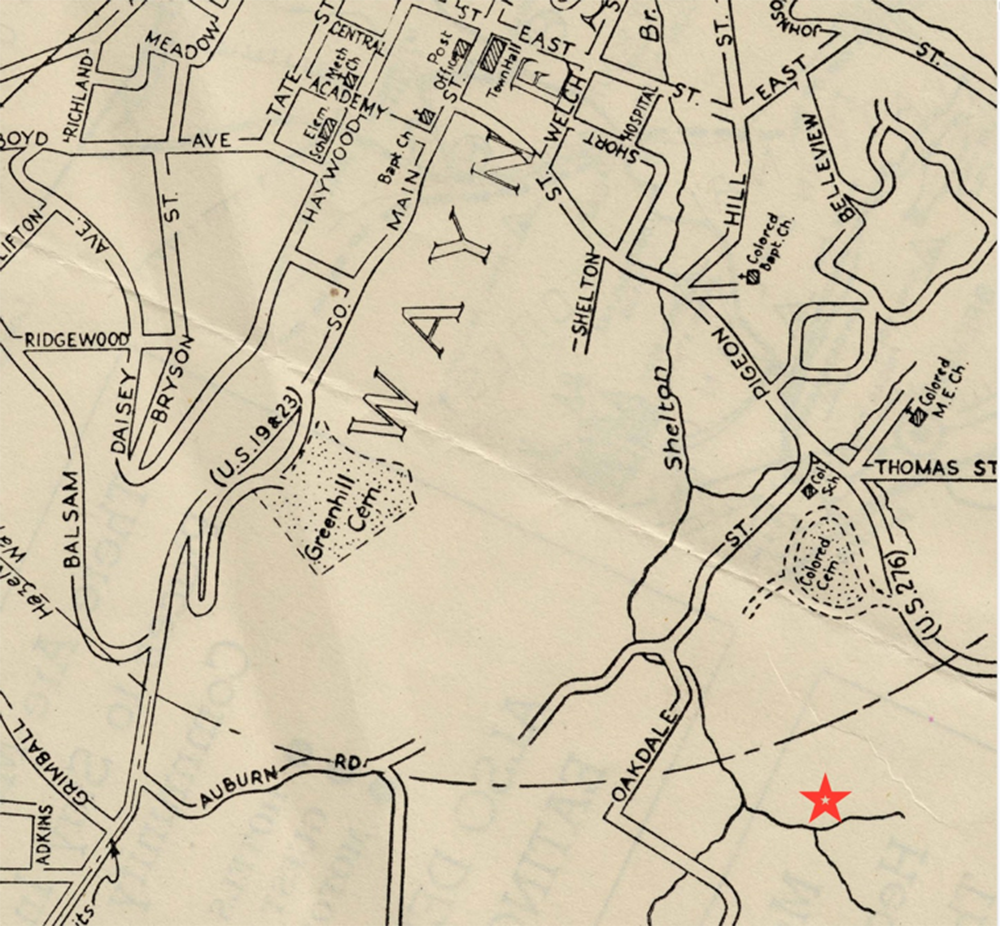 A 1945 map of the same area in Waynesville, North Carolina. The star marks the Fitzgerald property.