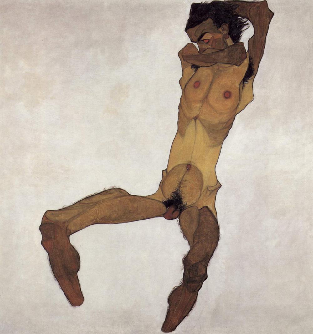 Seated Male Nude (Self-Portrait), by Egon Schiele, 1910.