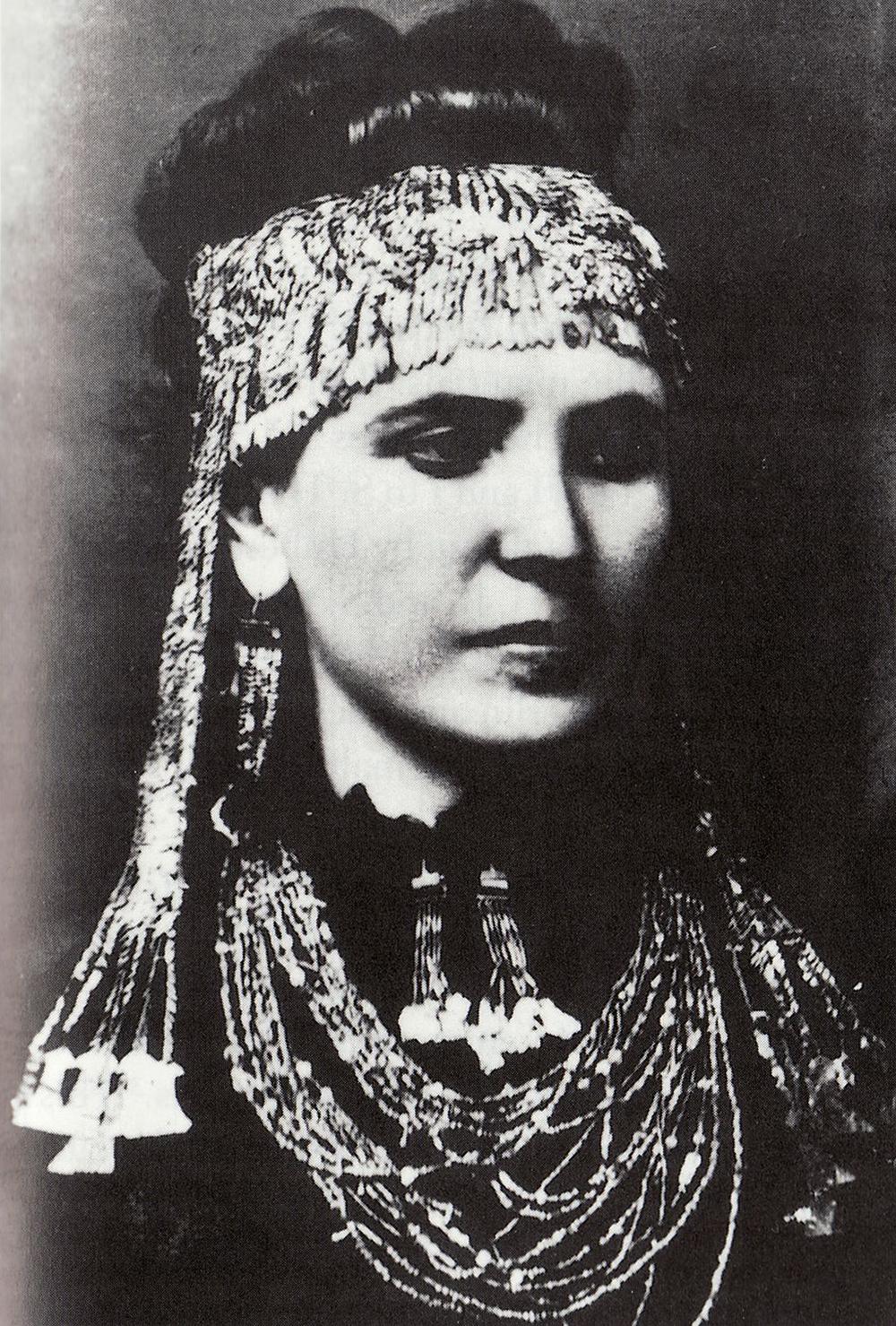 """Sophia Schliemann wearing """"Priam's treasure,"""" c. 1873."""