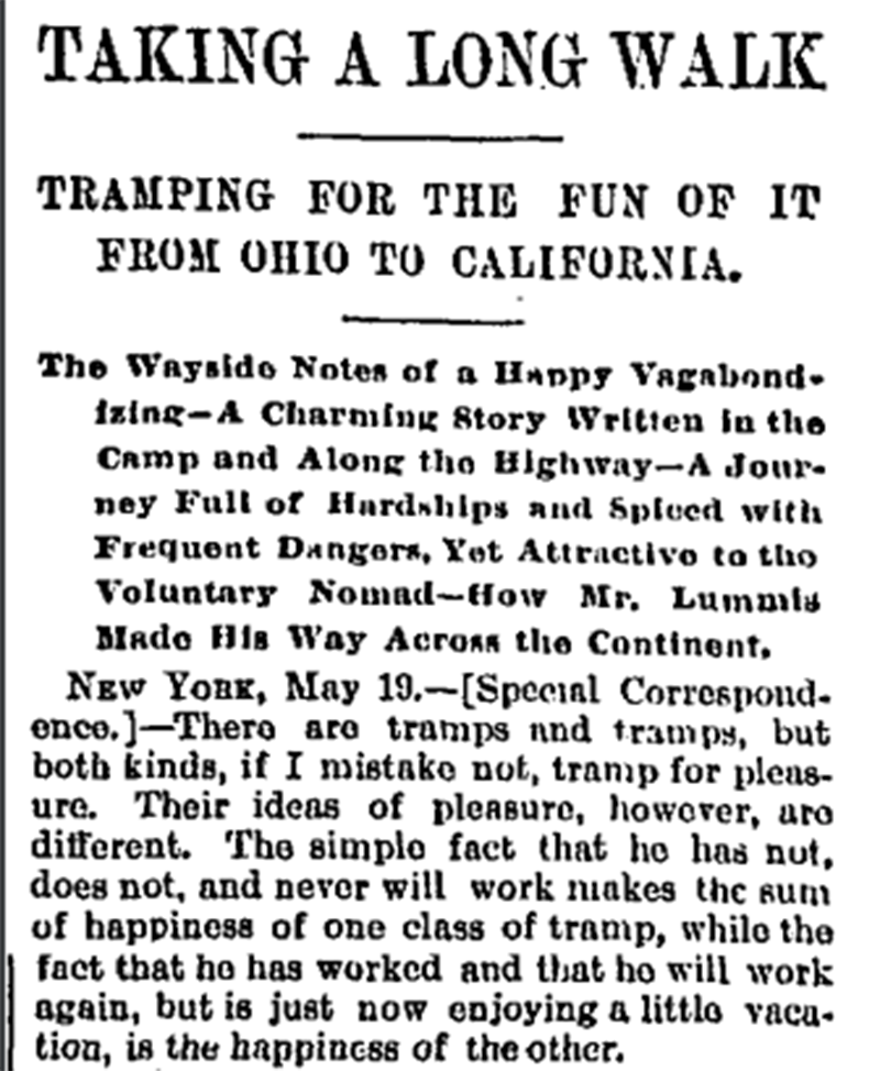 The Chicago Daily Tribune covers Charles Lummis' walk, May 1892.