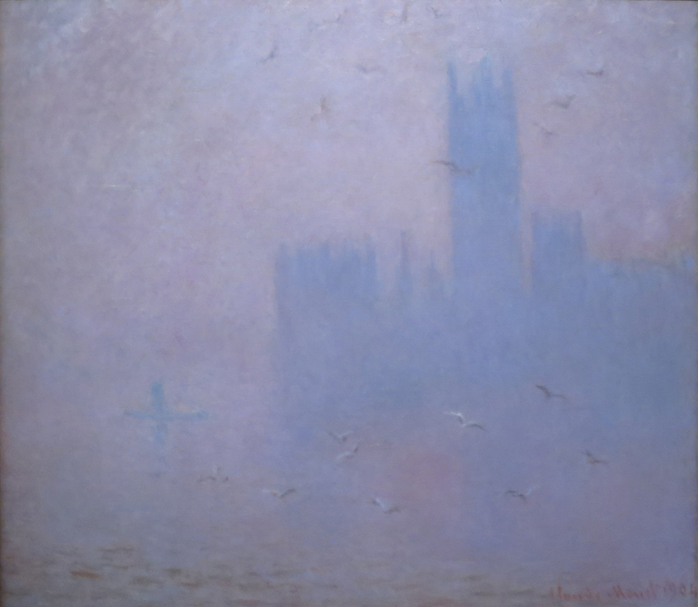 Seagulls, the River Thames and Houses of Parliament, by Claude Monet, 1904. Pushkin Museum of Fine Arts.