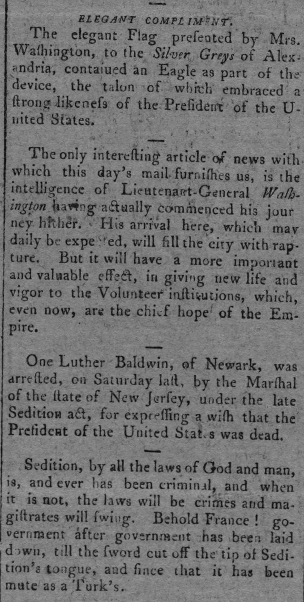 Philadelphia Daily Advertiser, November 8, 1798. Library of Congress, Chronicling America.