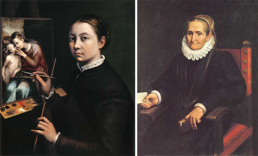 Left: Self-Portrait at the Easel, by Sofonisba Anguissola, 1556. Right: Self-Portrait, by Sofonisba Anguissola, 1610.