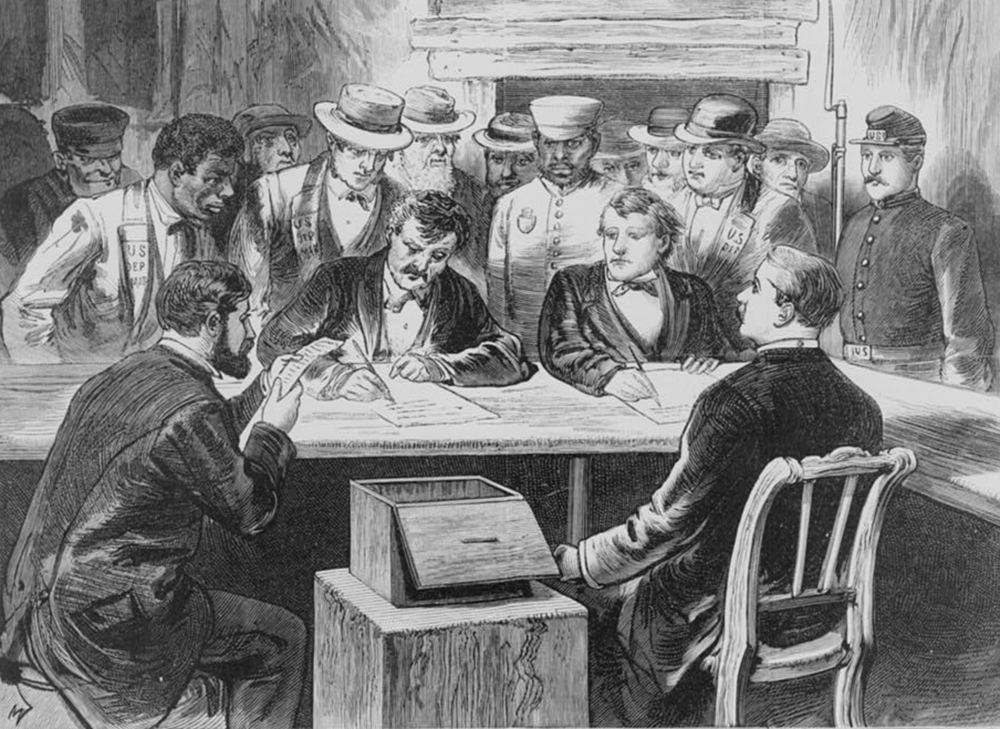 Counting the Vote on November 7 at Elephant Johnnie's, by S.W. Bennett, 1876.