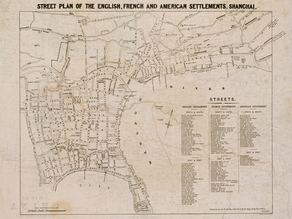 Street plan of the English, French, and American settlements, Shanghai, published for the North China Herald and North China Daily New Offices, c. 1870. Virtual Shanghai Project, Bibliothèque nationale de France.