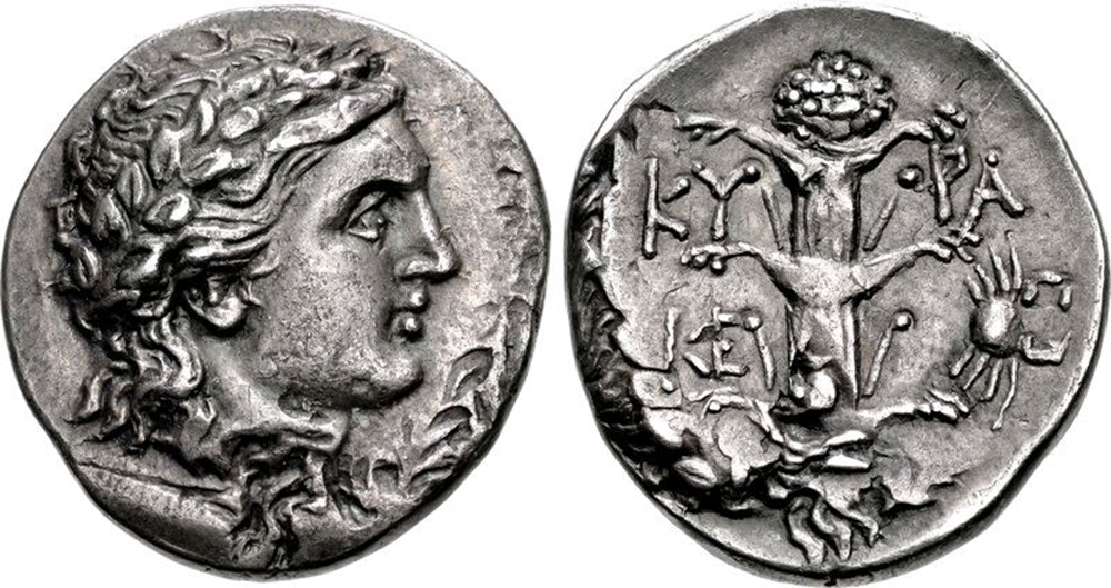 Coin of Magas of Cyrene (L) and silphium and small crab symbols (R), c. 300-275 BC. Classical Numismatic Group, Inc. (CC BY-SA 3.0)