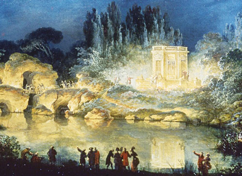 A painting showing several people on the shore of a pond at night. On the far side of the pond is a small but opulent white structure, all lit up.