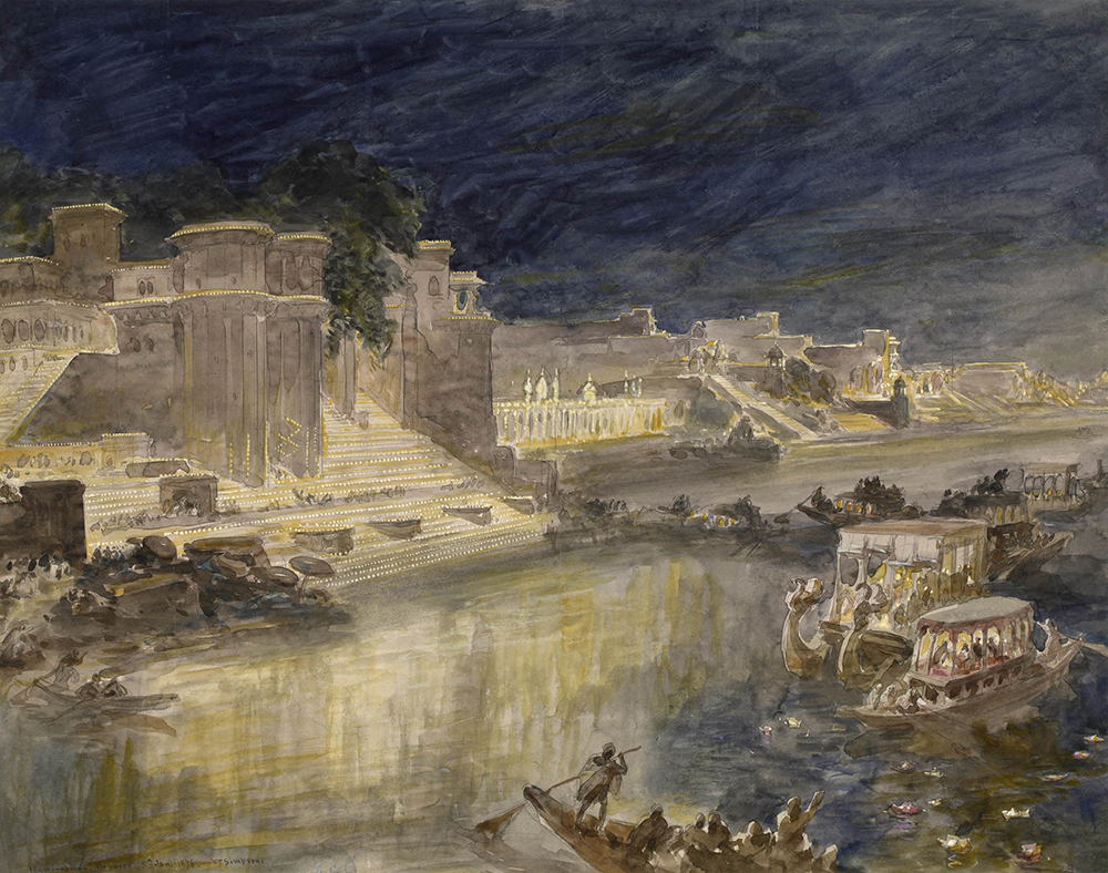Illuminations, Benares; view looking down on the Ganges at night, on the left, temples with wide stairs down to the water, illuminated and with crowds of people, on the right, decorated boats with awnings and lanterns, other boats present. Watercolor by William Simpson, 1876. © The Trustees of the British Museum.
