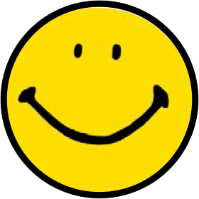 a yellow and black cartoon smiley face.
