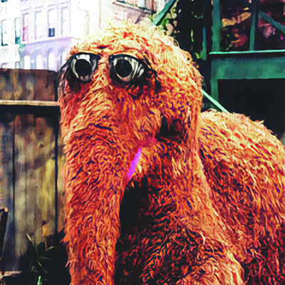 Mr. Snuffleupagus, a brown creature with big eyes and a trunk