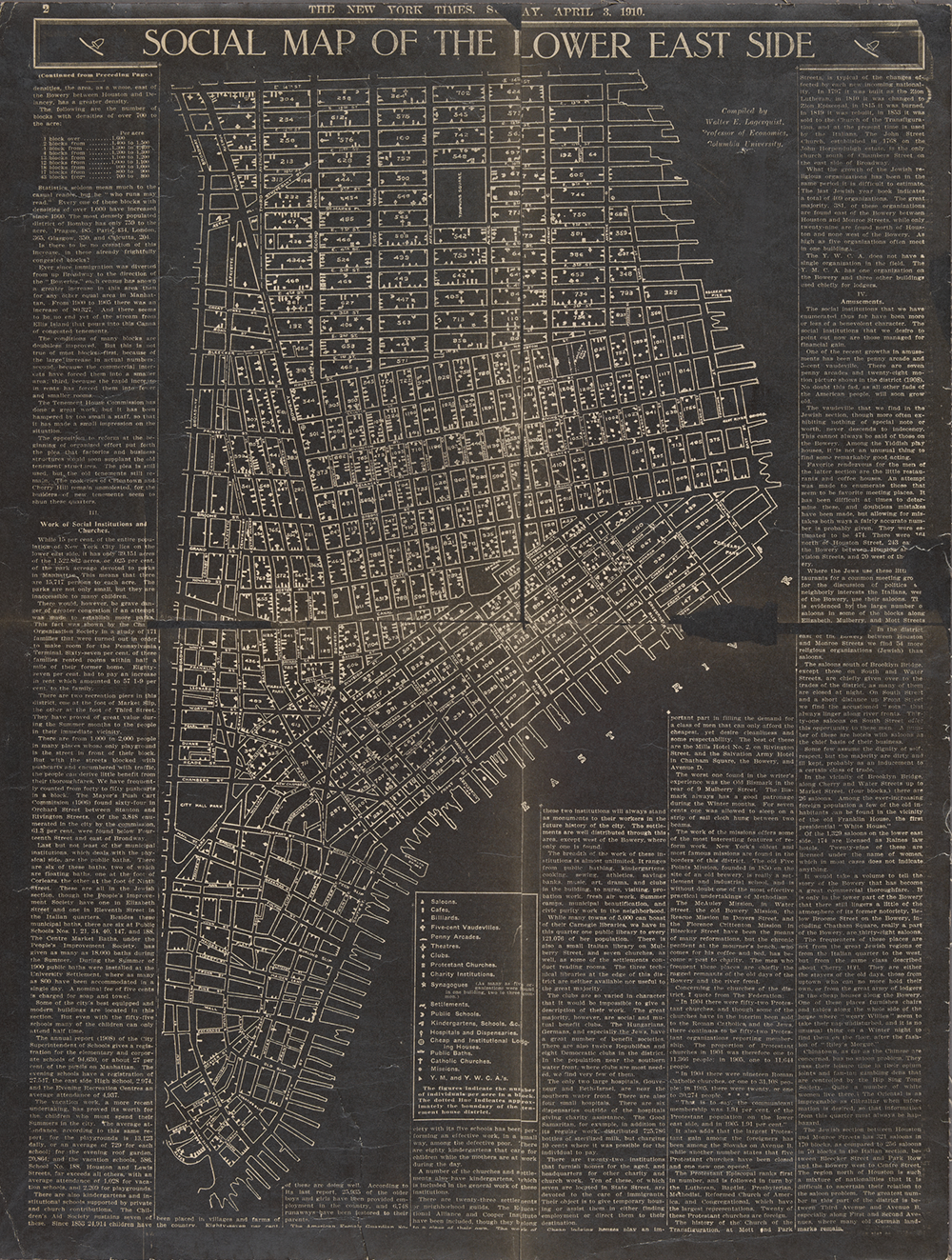 Social map of the Lower East Side, compiled by Walter E. Lagerquist, 1910. The New York Public Library, Lionel Pincus and Princess Firyal Map Division.